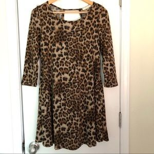 NWT Entro Leopard Brushed Knit Tunic Dress